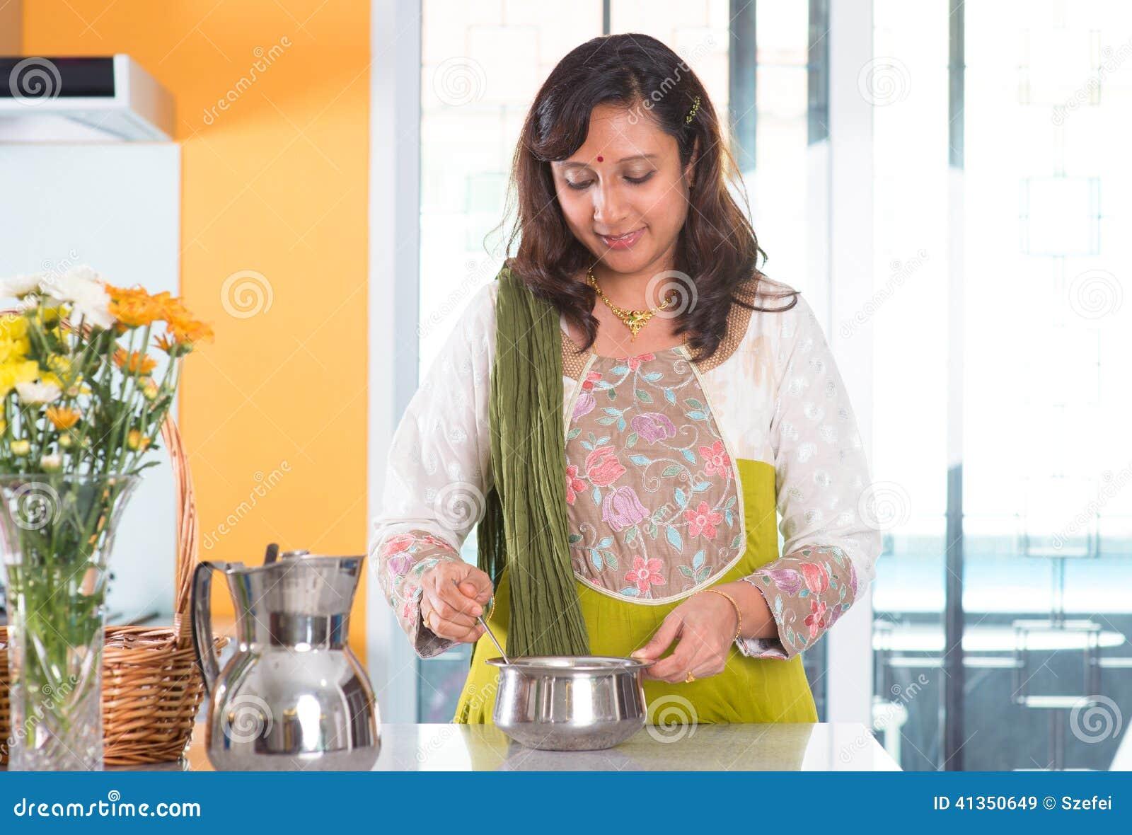 Indian Housewife Preparing Food Stock Photo - Image: 41350649