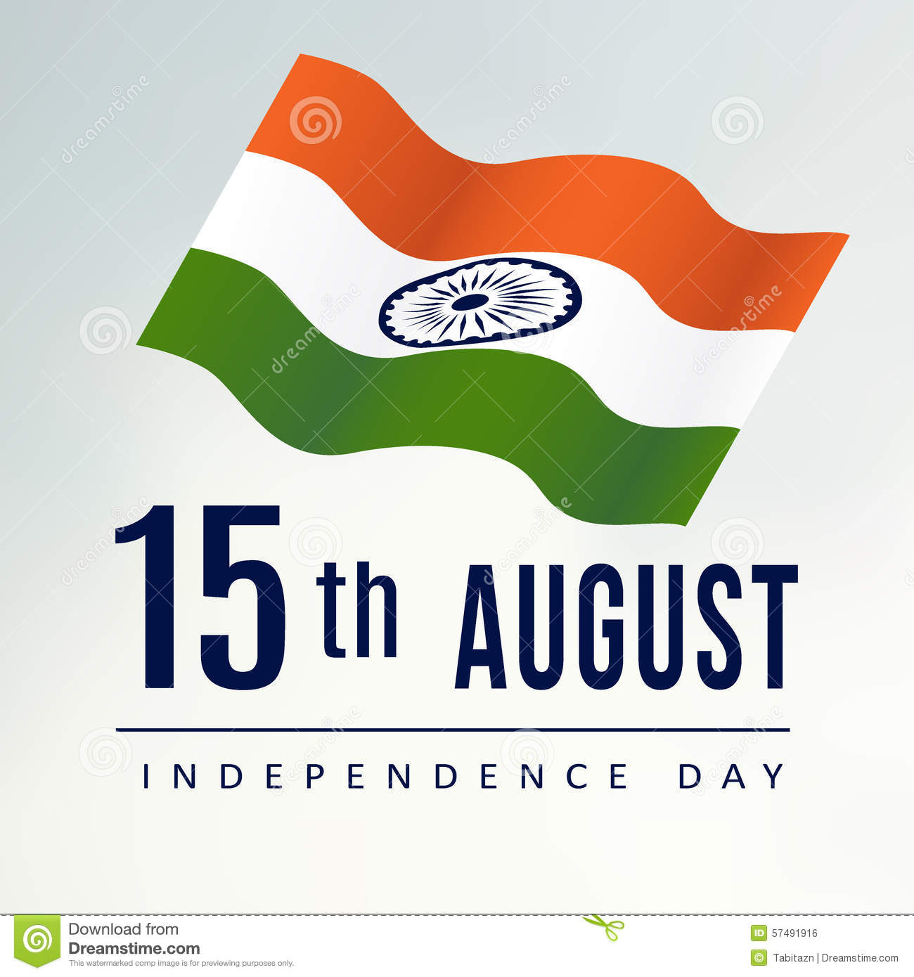 Indian Independence Day Greeting Card With Indian Flag Stock Vector