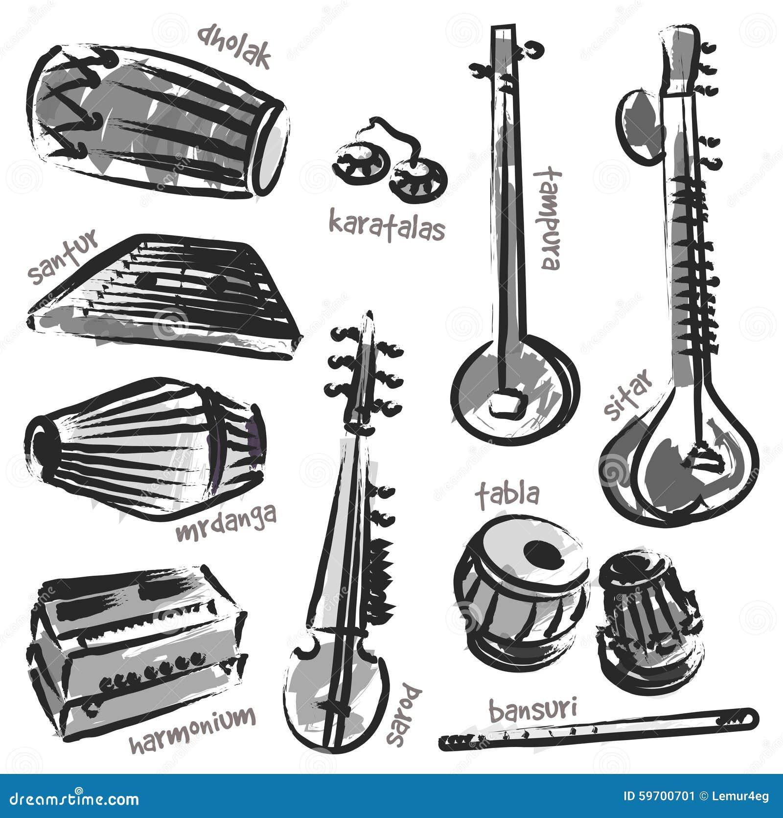 Indian instruments stock vector. Image of bansuri, rhythm ...