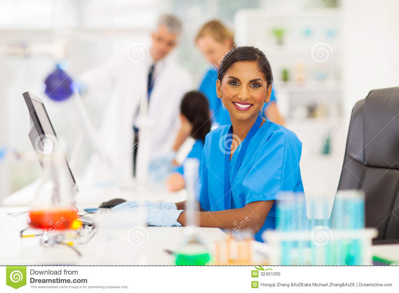 Indian laboratory worker