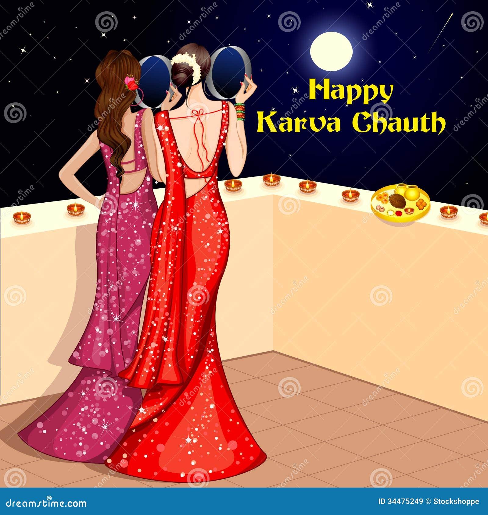 Indian Lady Celebrating Karwa Chauth Royalty Free Stock