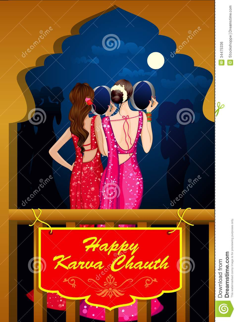 Indian Lady Celebrating Karwa Chauth Royalty Free Stock ...