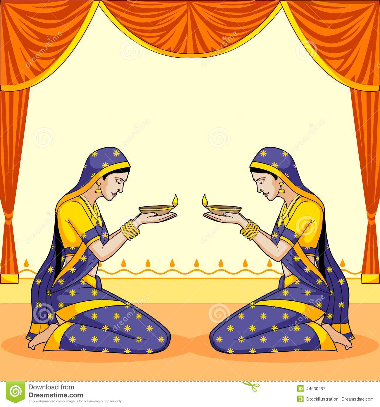 Indian Lady With Diwali Diya Stock Vector Image 44030287