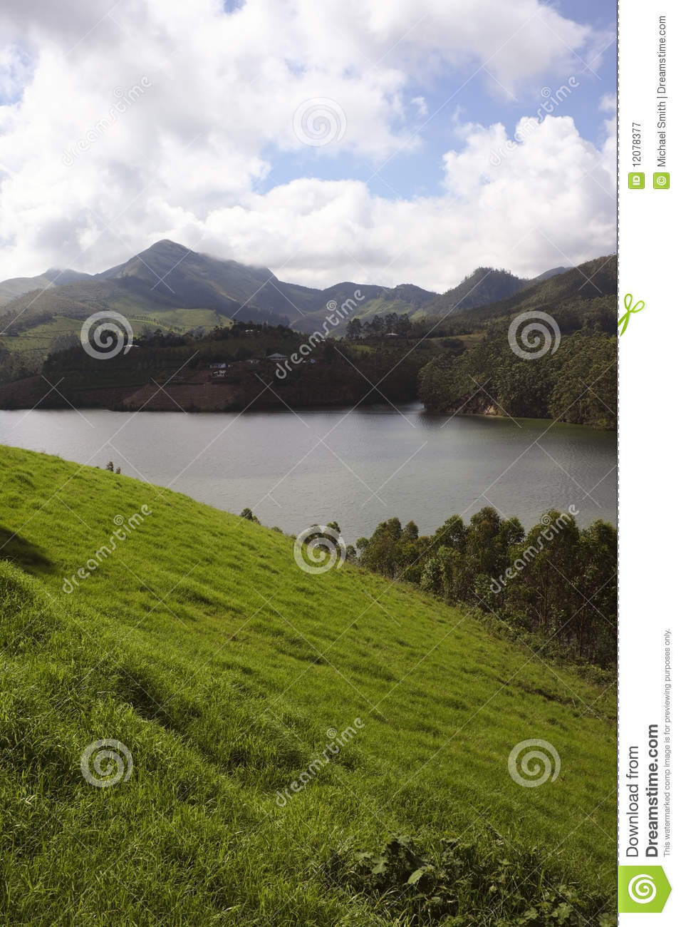 View of periyar river of south india and the surrounding hillsides.