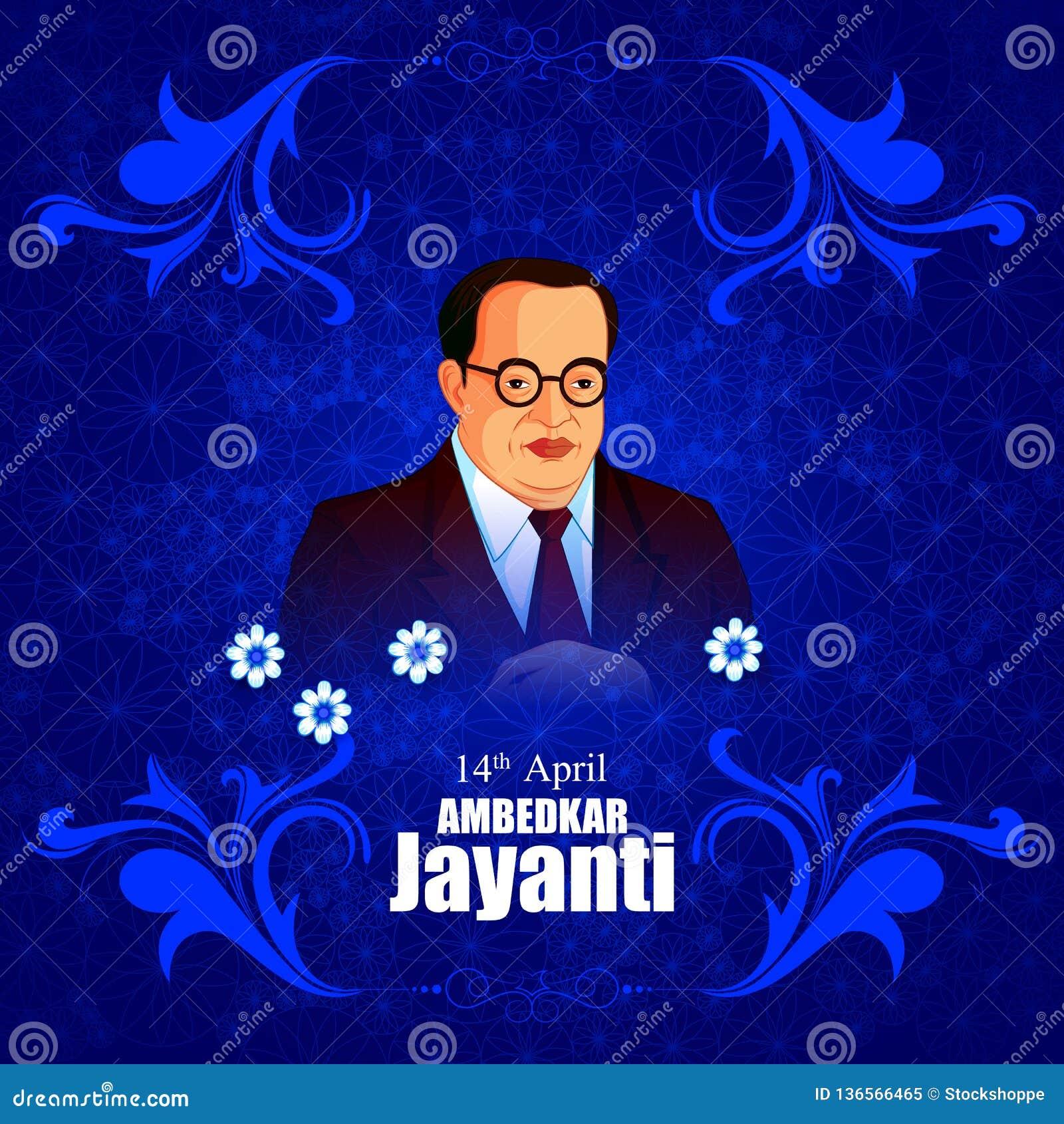 Indian Leader Dr Bhimrao Ambedkar Jayanti Background Stock Vector
