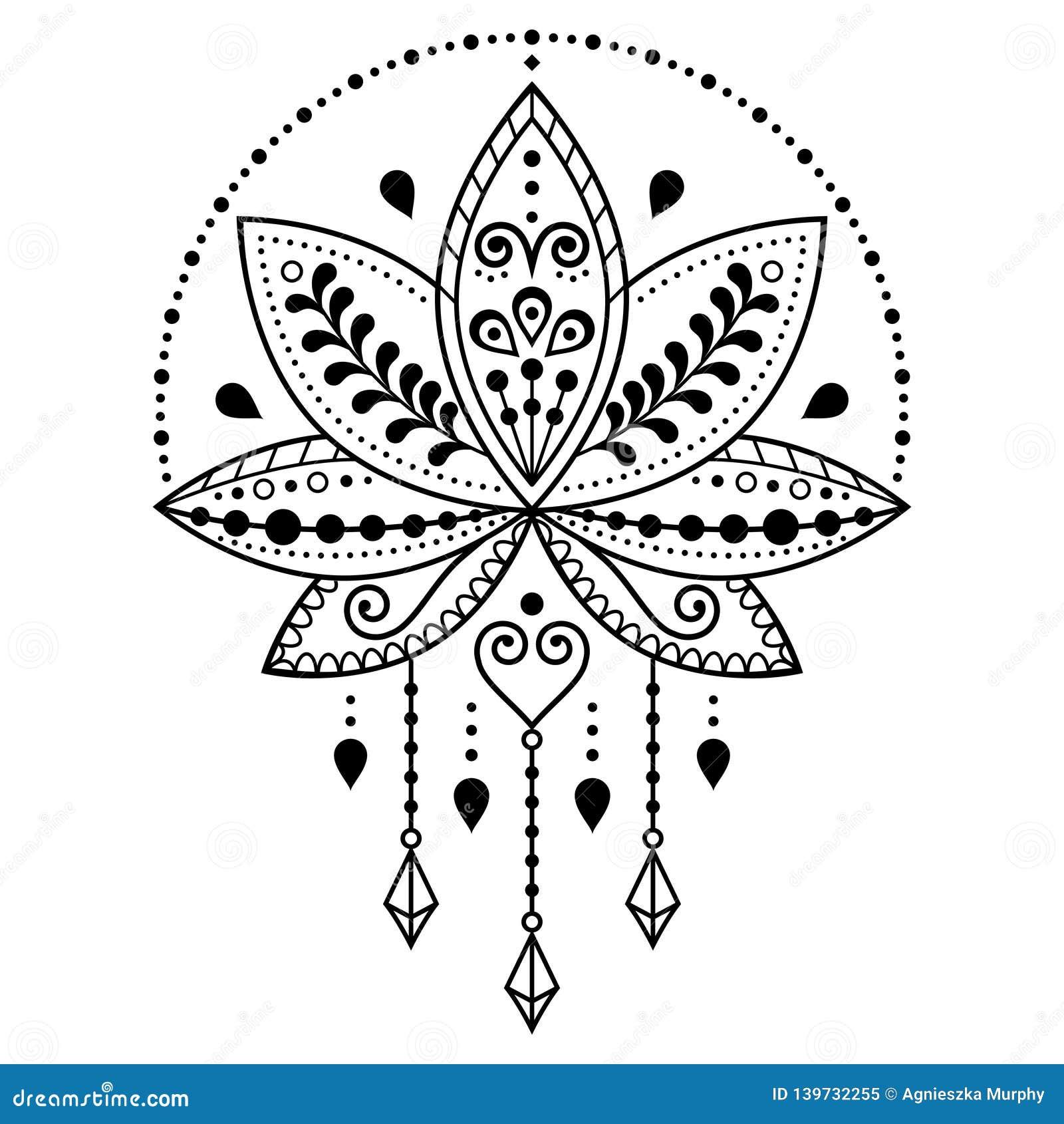 Indian Lotus Flower Vector Pattern Mehndi Henna Tattoo Style Yoga