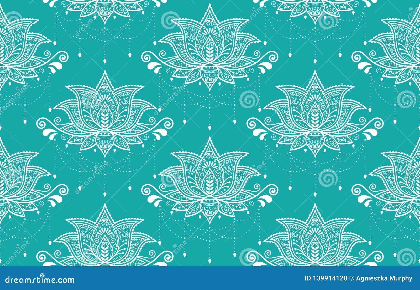 Indian Lotus Flower Vector Seamless Pattern Mehndi Henna Tattoo