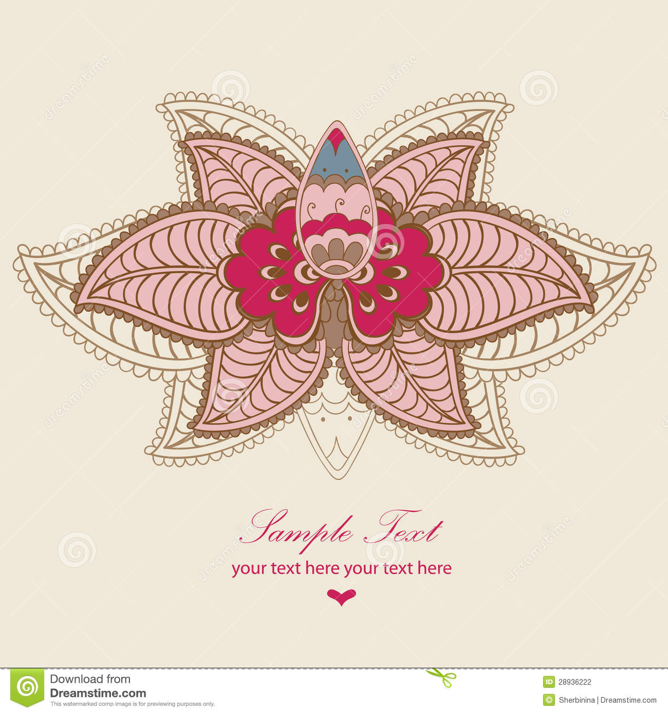 Indian Lotus Magic Card Stock Vector Illustration Of Culture 28936222