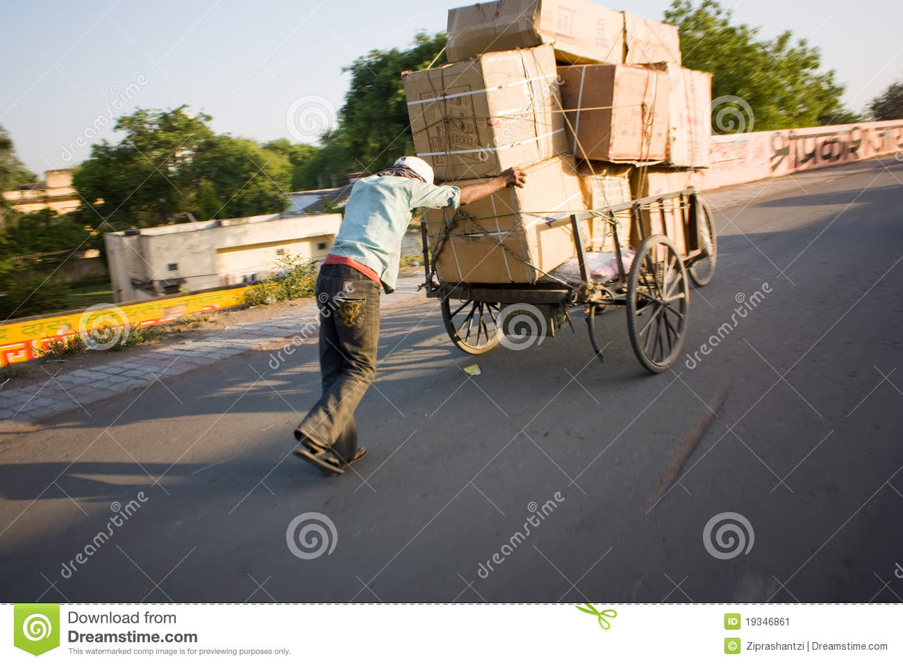 Indian Man Carrying Boxes On Hand Cart Editorial Photo