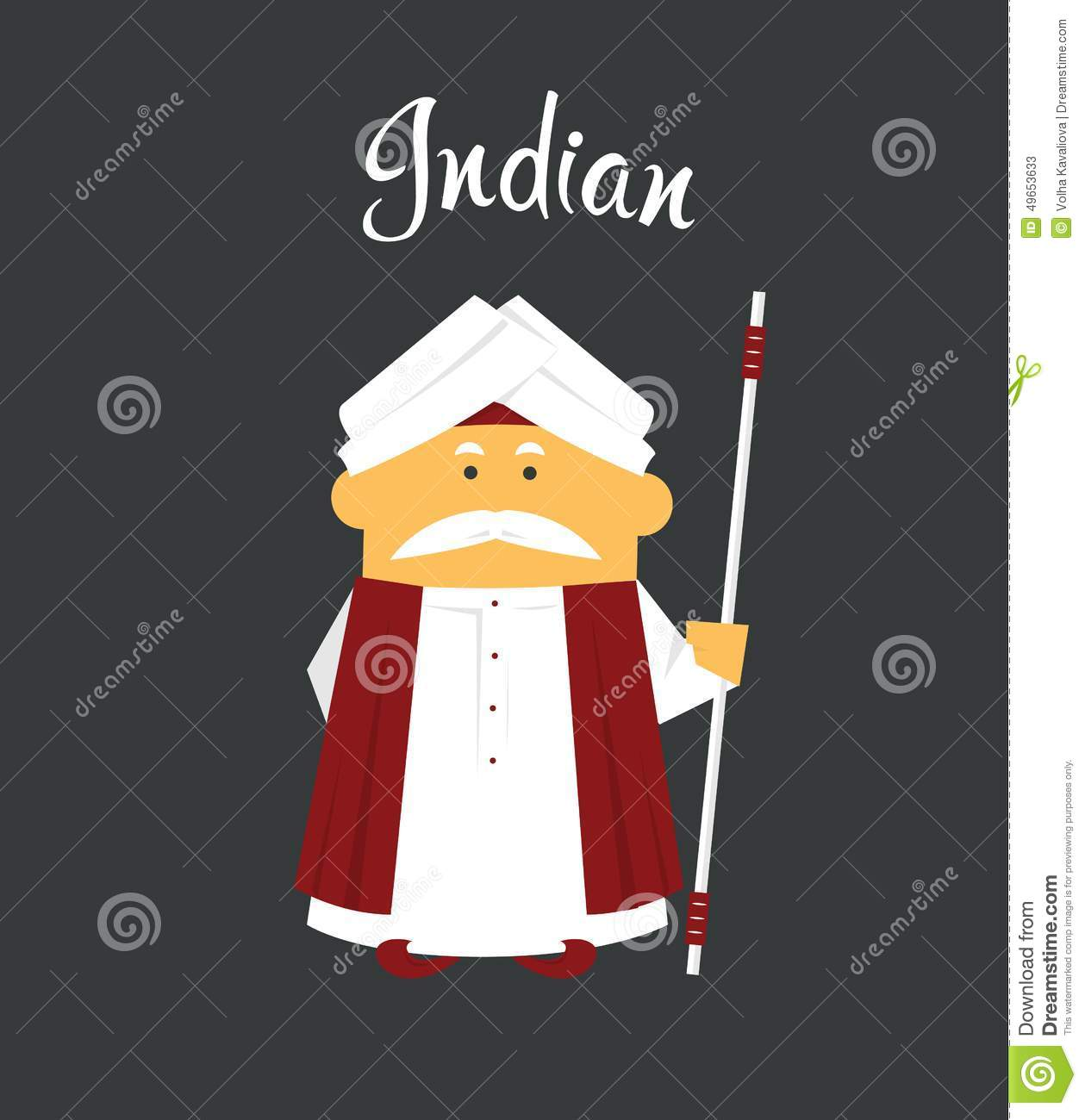 Indian Man Or Cartoon Charachter In Turban With Stock