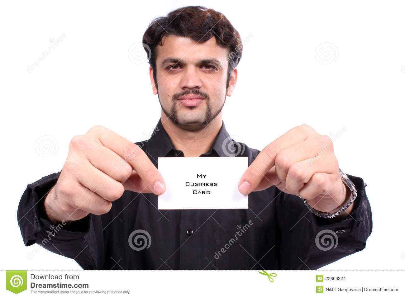 Indian Man Holding Business Card Stock Photo - Image of males ...