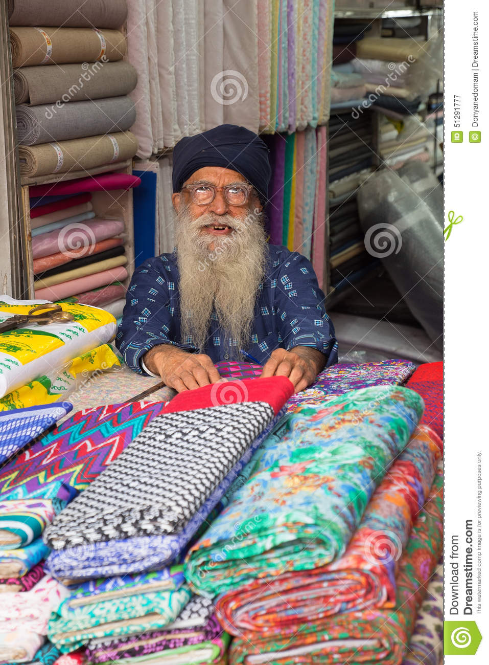 Indian Man Selling Textile In A Shop At Chandni Chowk Delhi In Editorial Photography Image