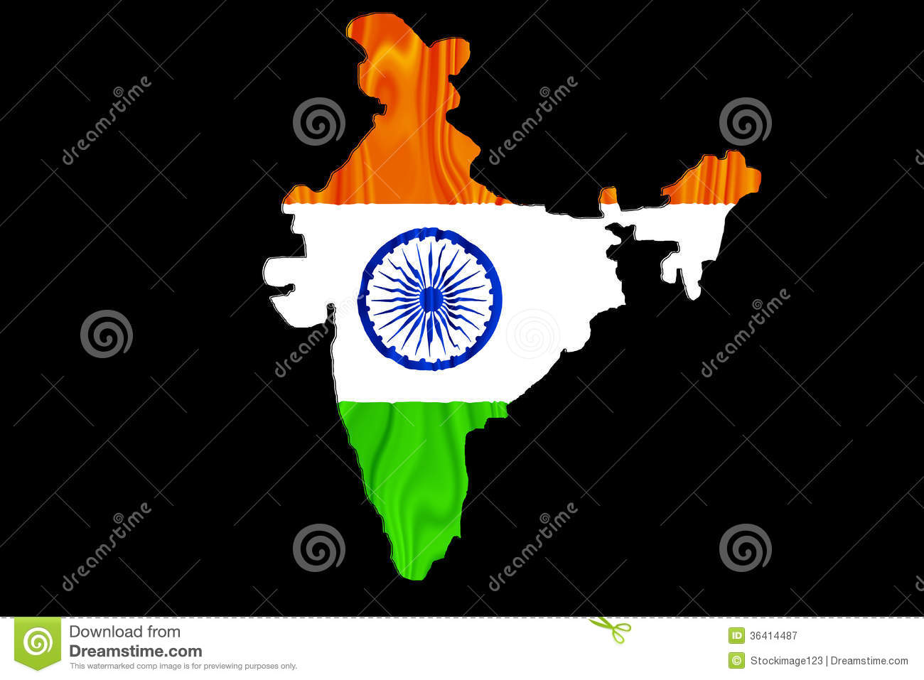 India Flag Black: Indian Map And Flag Royalty Free Stock Photography