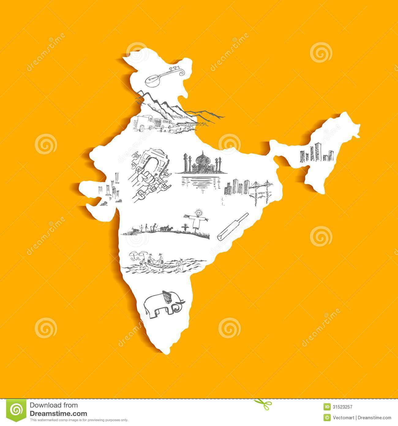 Indian Map Royalty Free Stock Photography - Image: 31523257