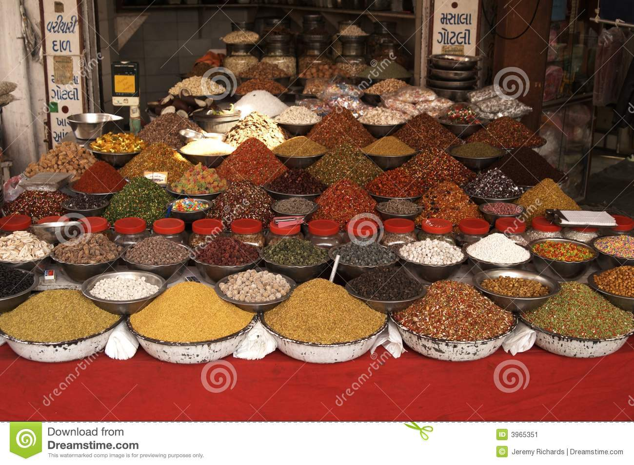 Stock Image  Indian Market Stall Selling Nuts and SpicesIndian Market Stall