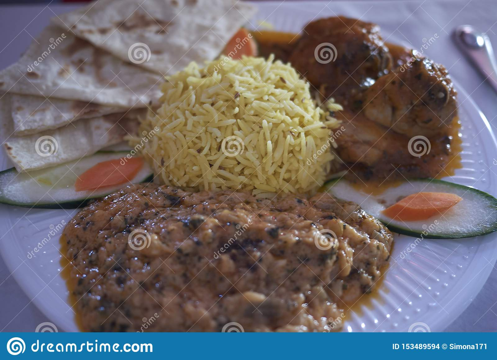 Indian meal with basamati rice