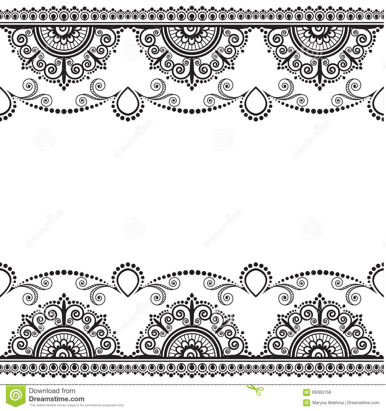 Henna Design Line Art : Indian mehndi henna line lace element with flowers