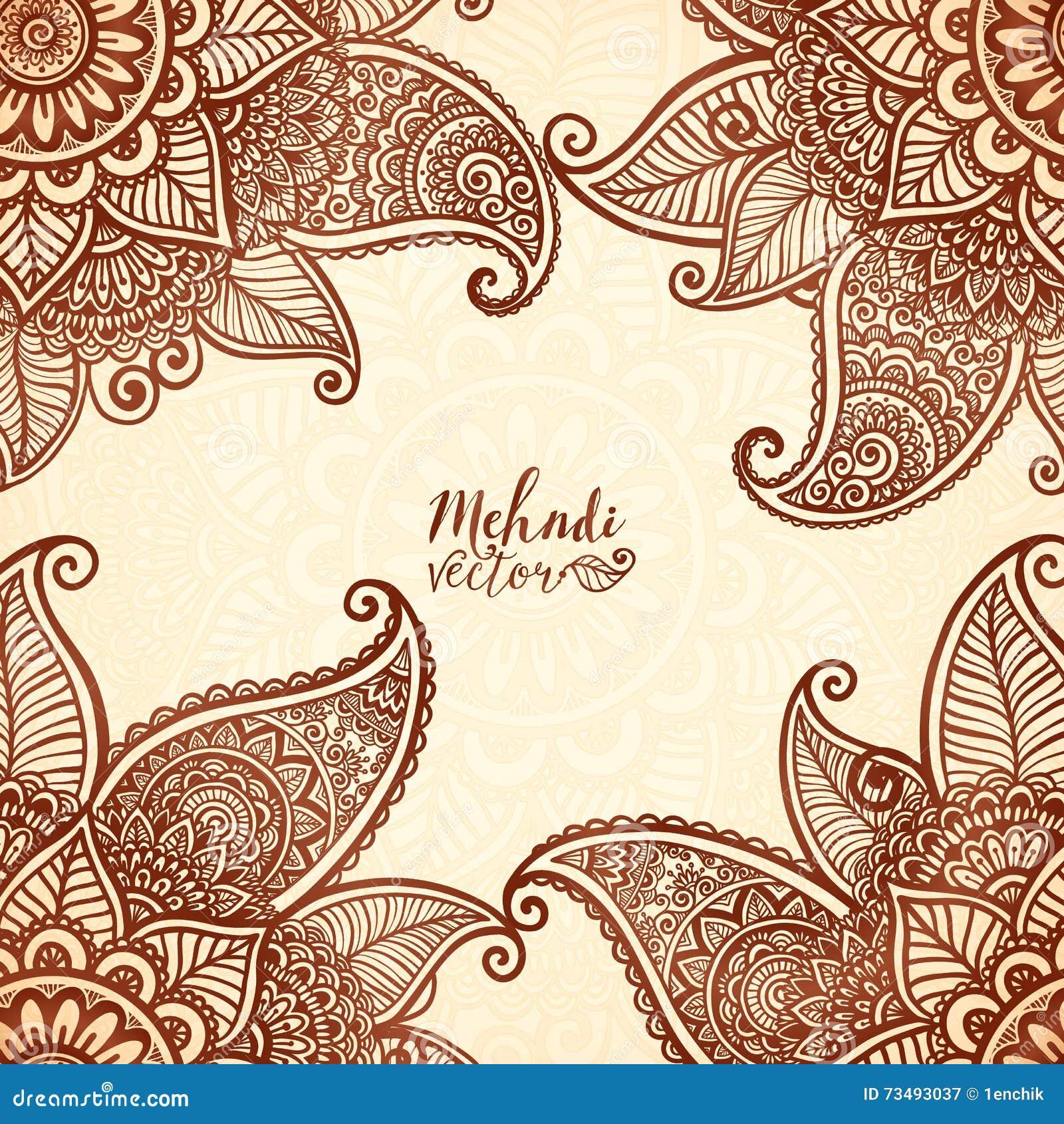 Henna Mehndi Vector Free : Indian mehndi henna tattoo style vector card stock