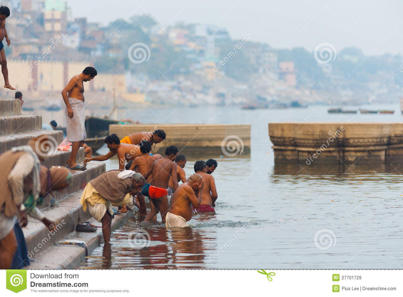d320f464a24 Indian Men Bathing Holy Ganges River Varanasi Editorial Stock Image ...