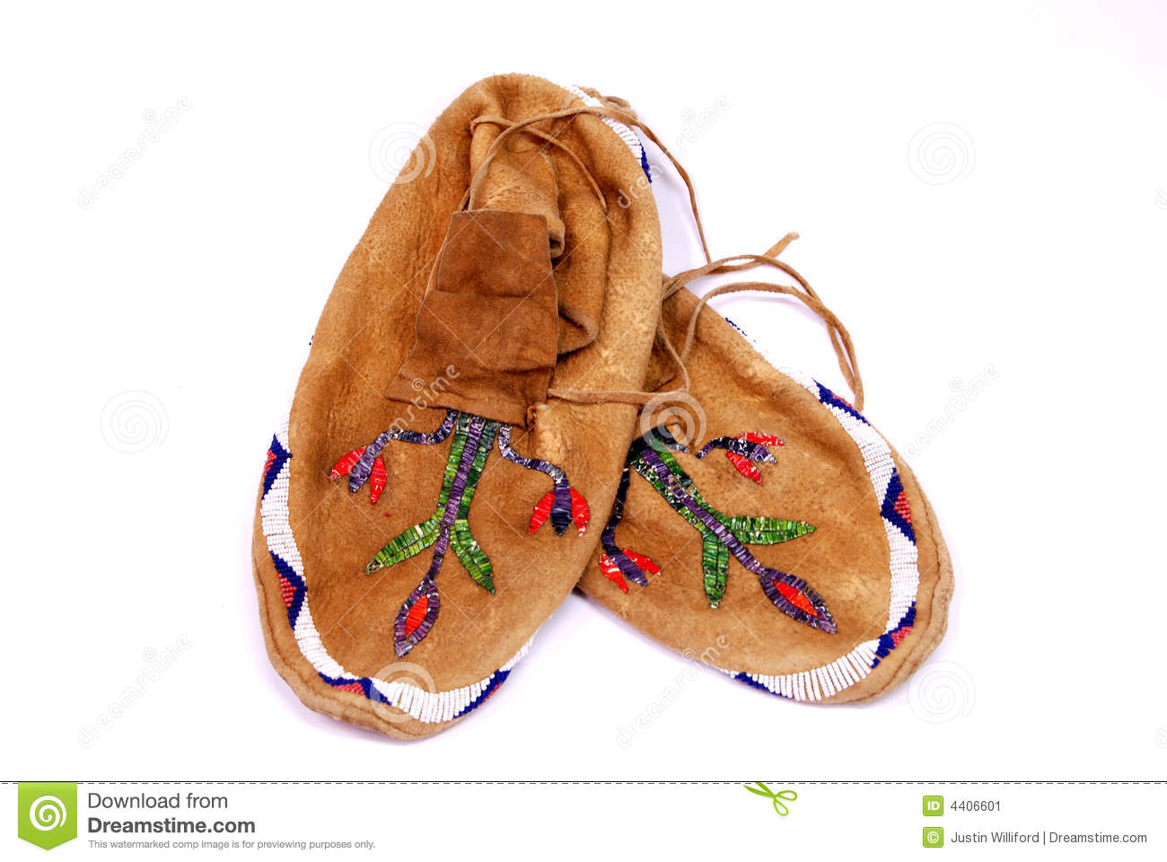 Native american indian moccasins handmade still life