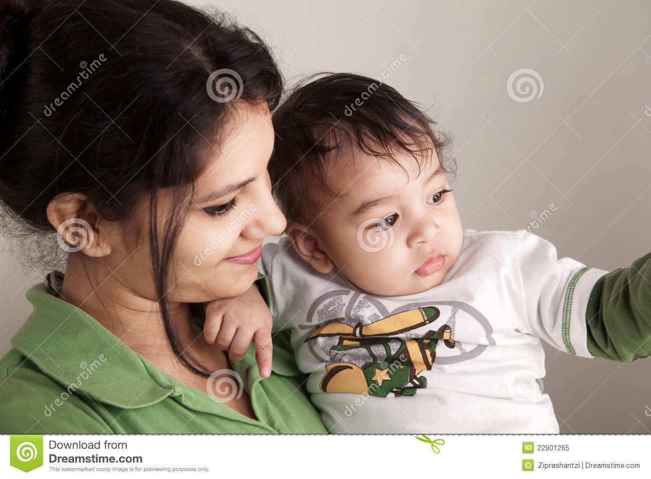 Indian Mother And Baby Smiling Stock Image - Image of female
