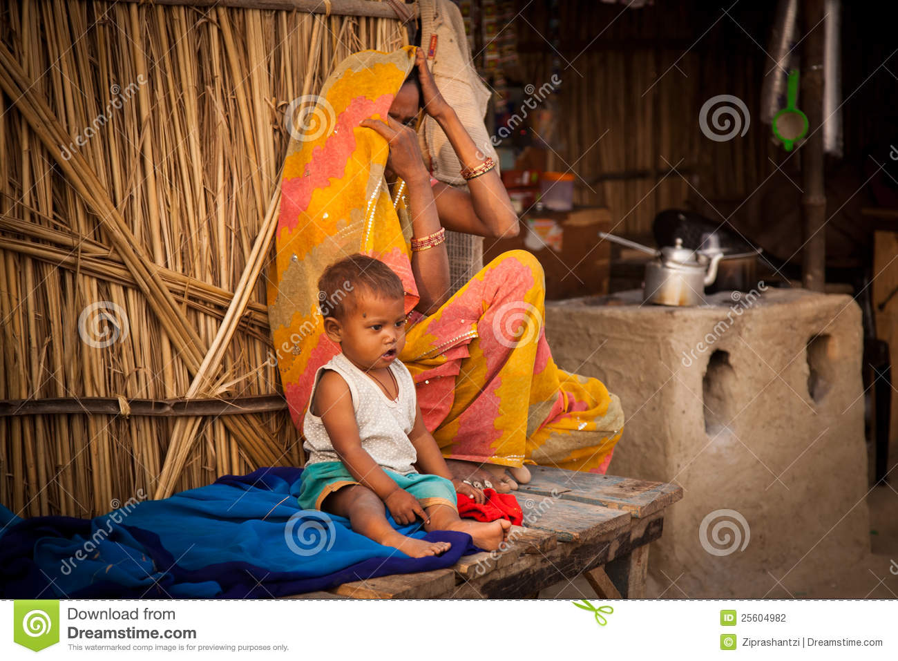 Indian Mother And Child In Tea Shop Editorial Photography ...