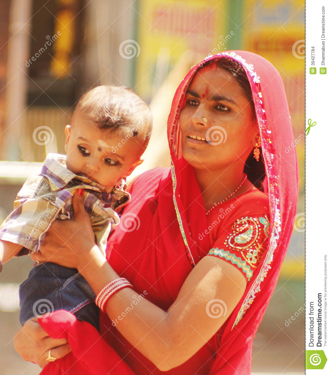 Indian Mother With Her Child Editorial Stock Image - Image ...