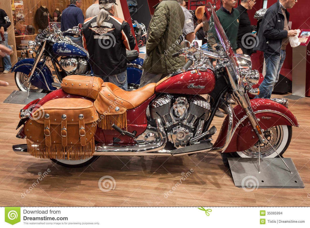 Exhibition Stall Image : Indian motorbike with leather bags at eicma in milan