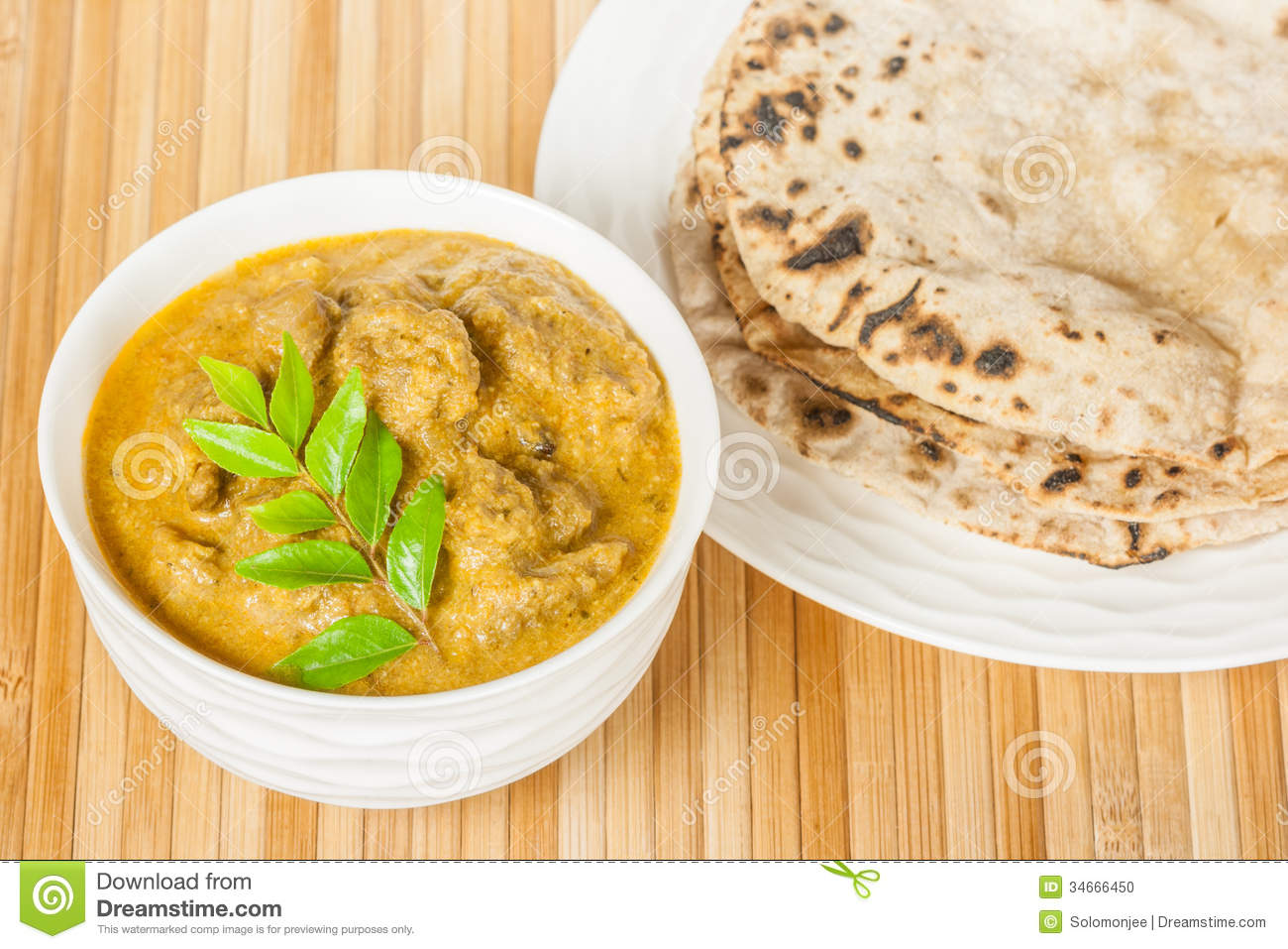 Indian Mutton Curry And Chapati Stock Photo Image 34666450