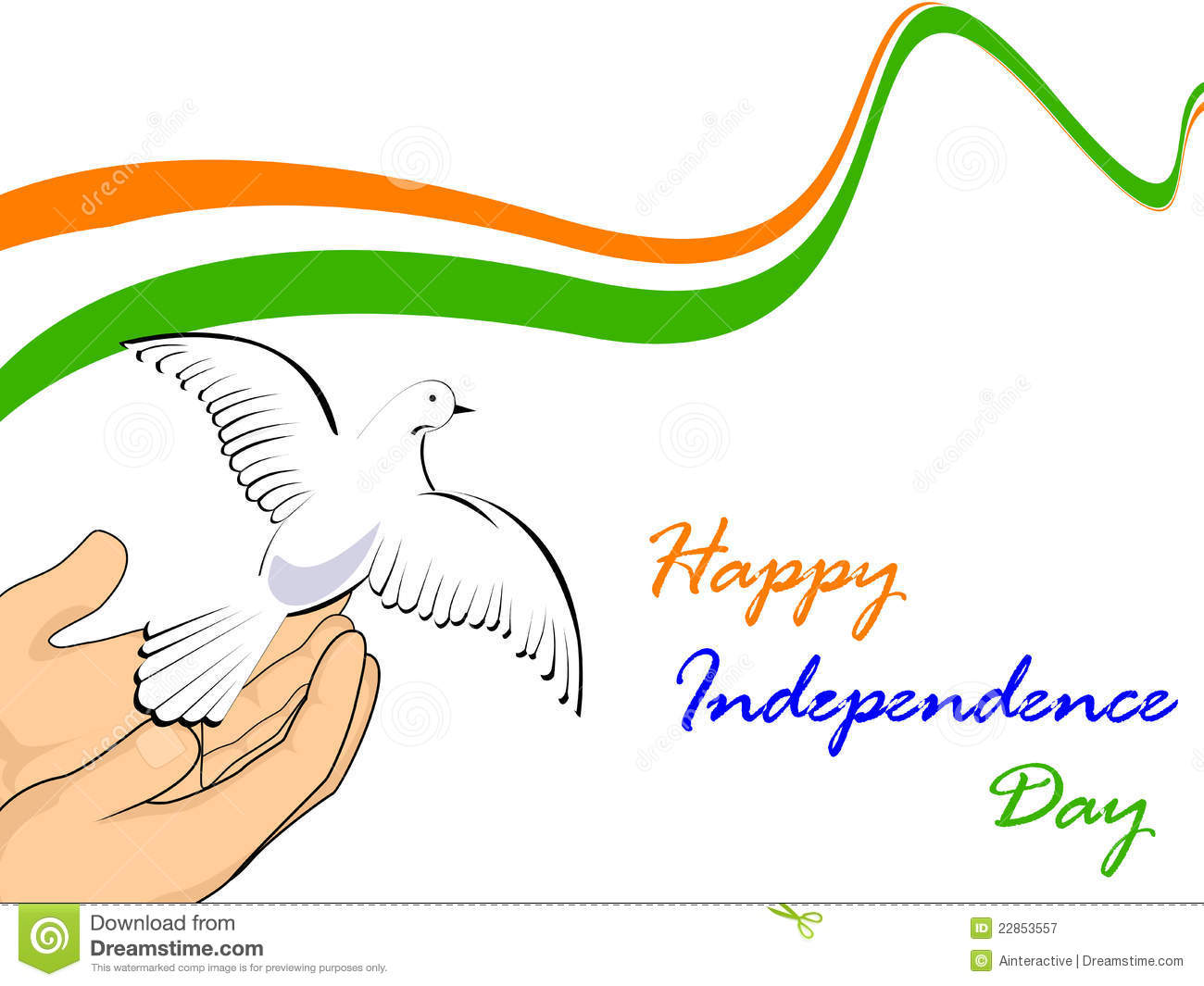 Indian National Flag With Flying Pigeons Illustration 22853557