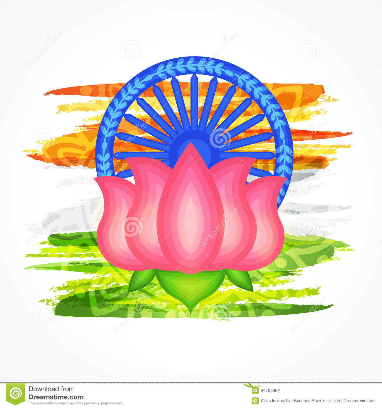 Indian National Flower Lotus For Republic Day Stock Illustration