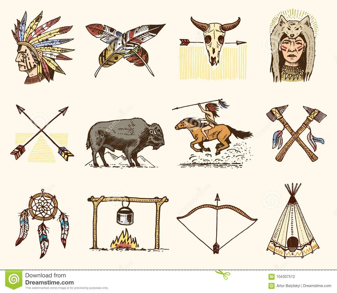 Indian Or Native American Buffalo Axes And Tent Arrows And Bow