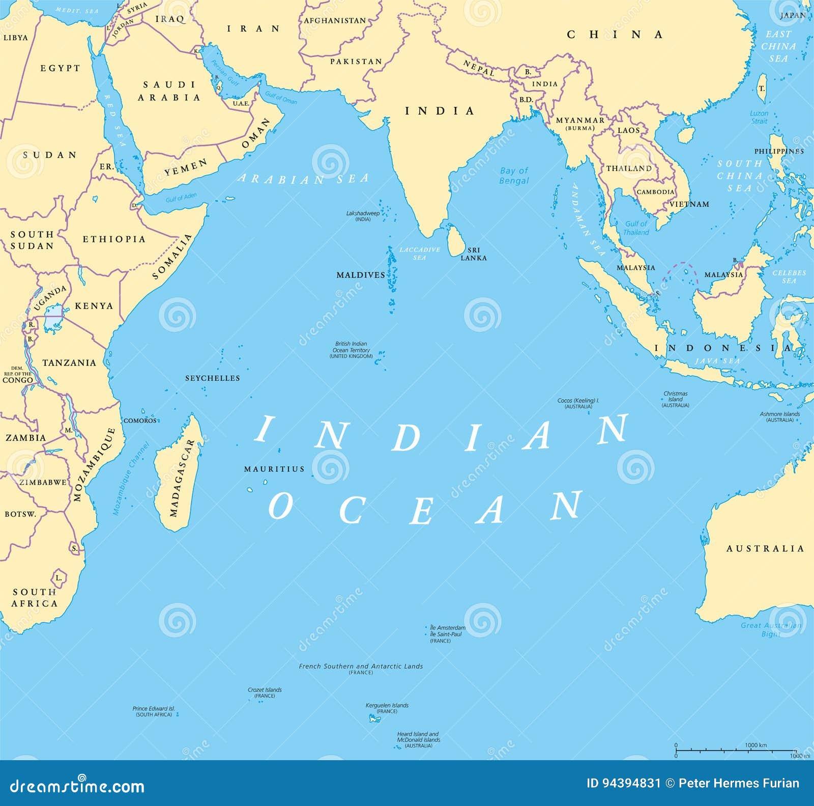 Indian Ocean political map stock vector. Illustration of horn