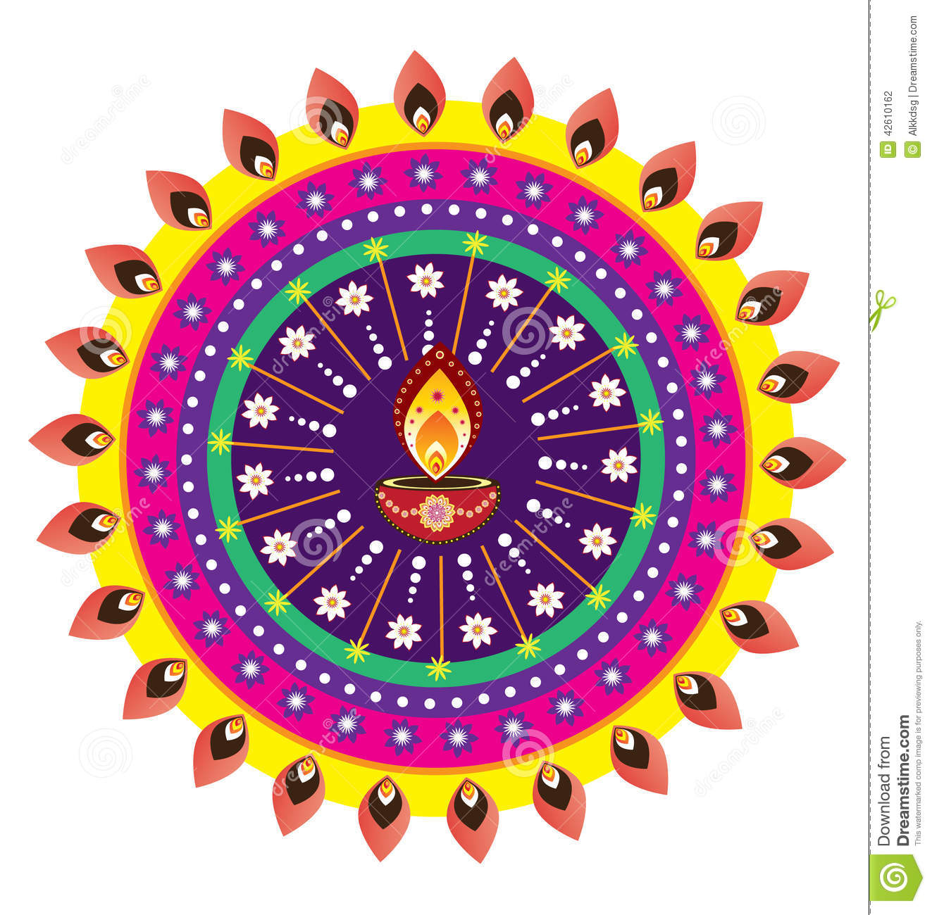 indian oil lamp stock vector image of circle flora