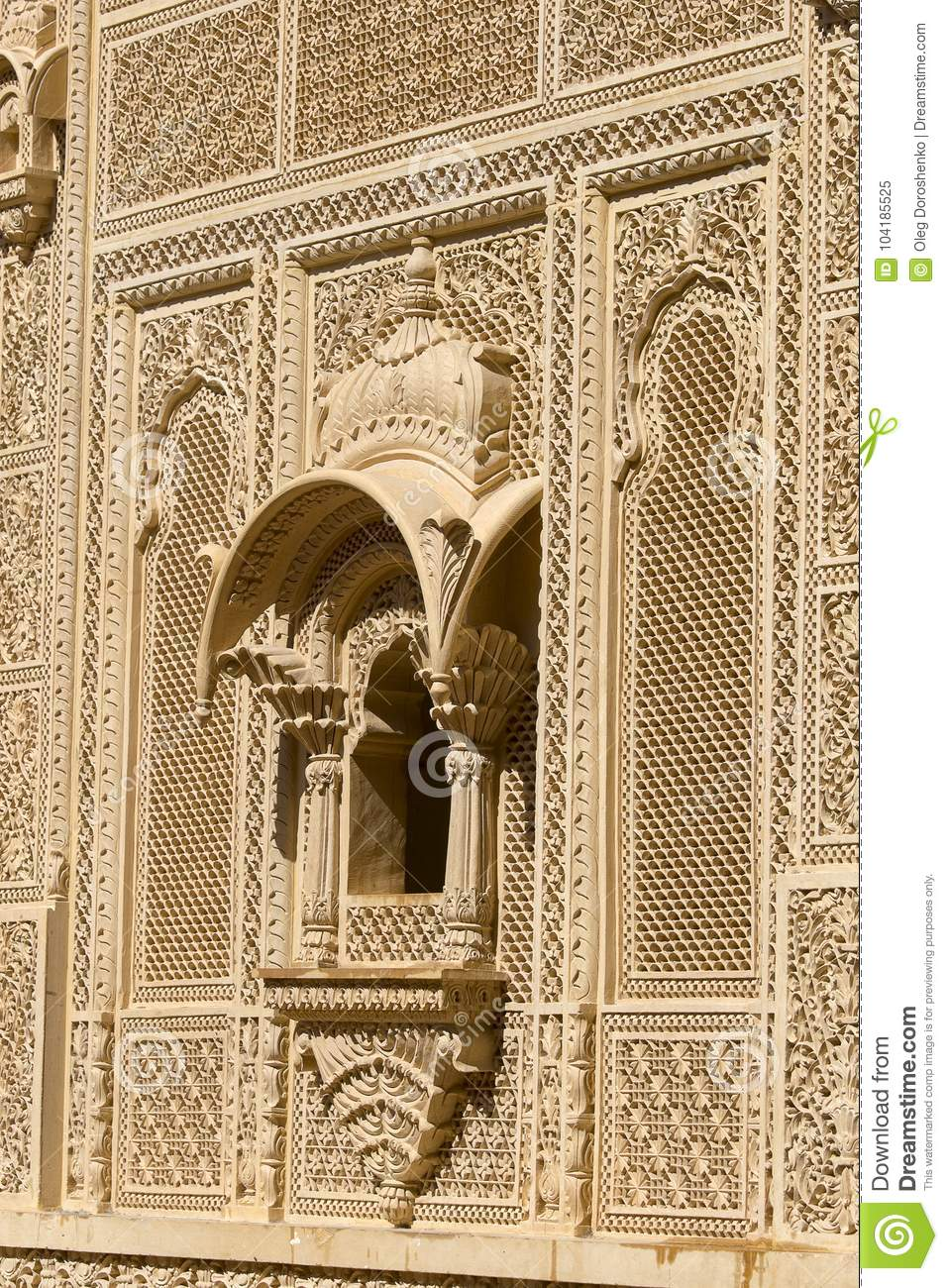 Indian Ornament On Wall Of Palace In Jaisalmer Fort, India. Stock ...