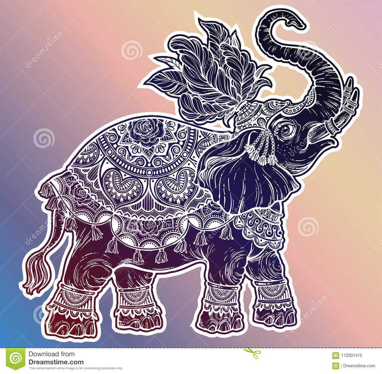 vintage indian ethnic boho elephant with feathers stock vector