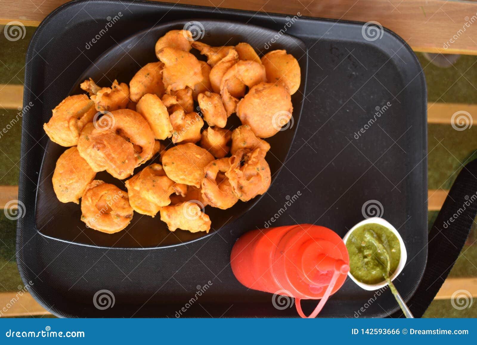 Indian Pakoda fried snack fritter