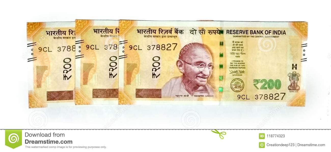 Indian Paper Currency Of 200 Rupees Editorial Stock Photo