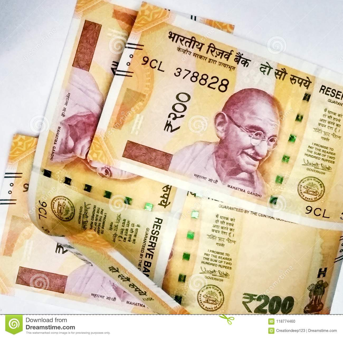 Indian Paper Currency Of 200 Rupees Stock Photo - Image of finance