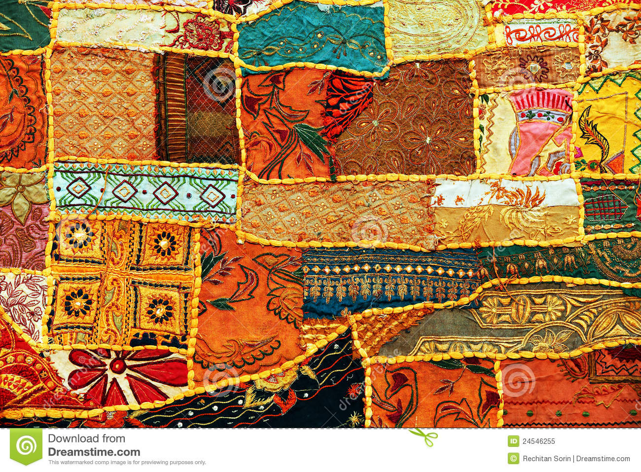 Indian Patchwork Carpet Stock Image Image Of Asian