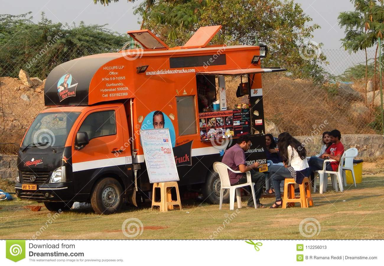 Indian People Buy Street Food At Food Trucks Stationed In Open Area Editorial Stock Photo Image Of Buying Festival 112256013