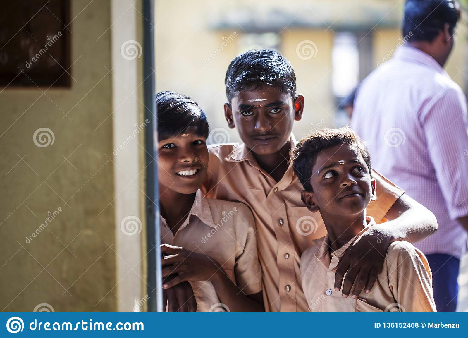Indian Public school, children in school uniforms greeting new day