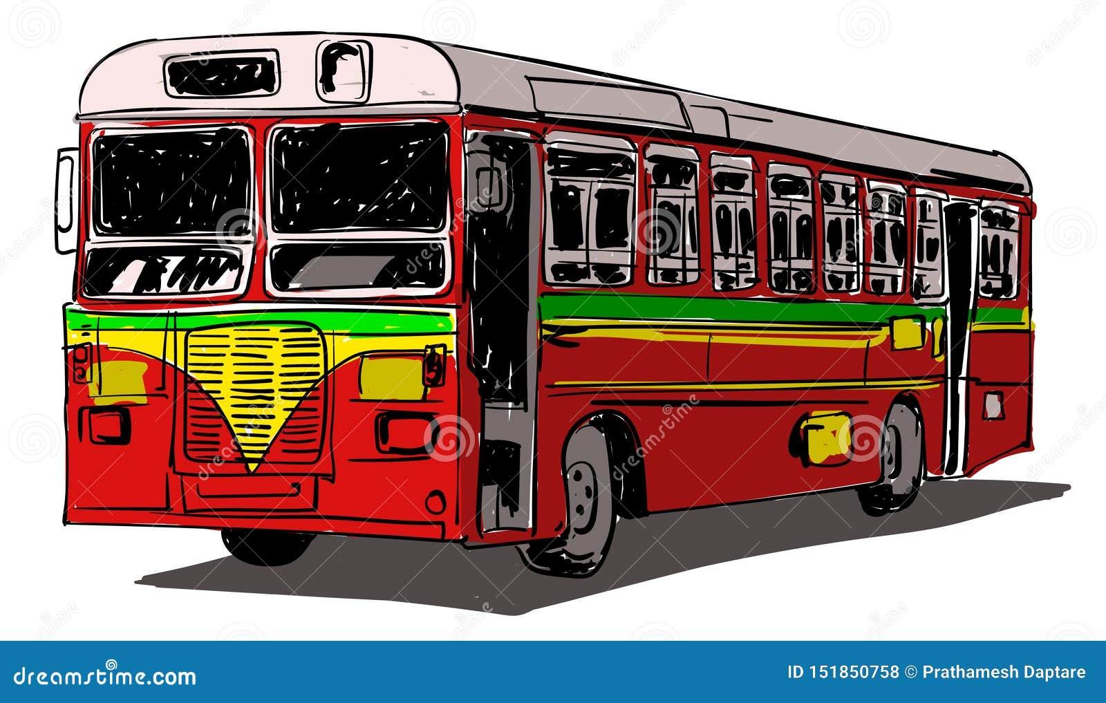 Indian Public Transport illustration