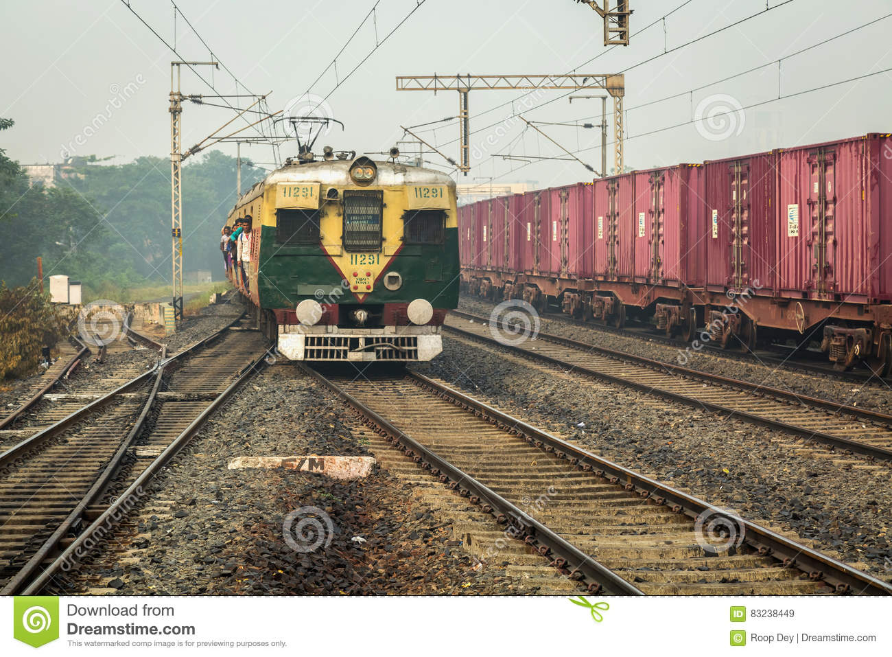 Indian Railways Crowded Local Train About To Enter A Station