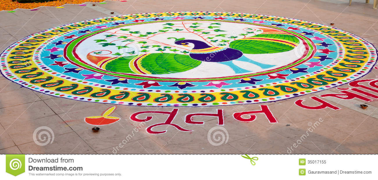 indian rangoli on the eve of gujarati new year