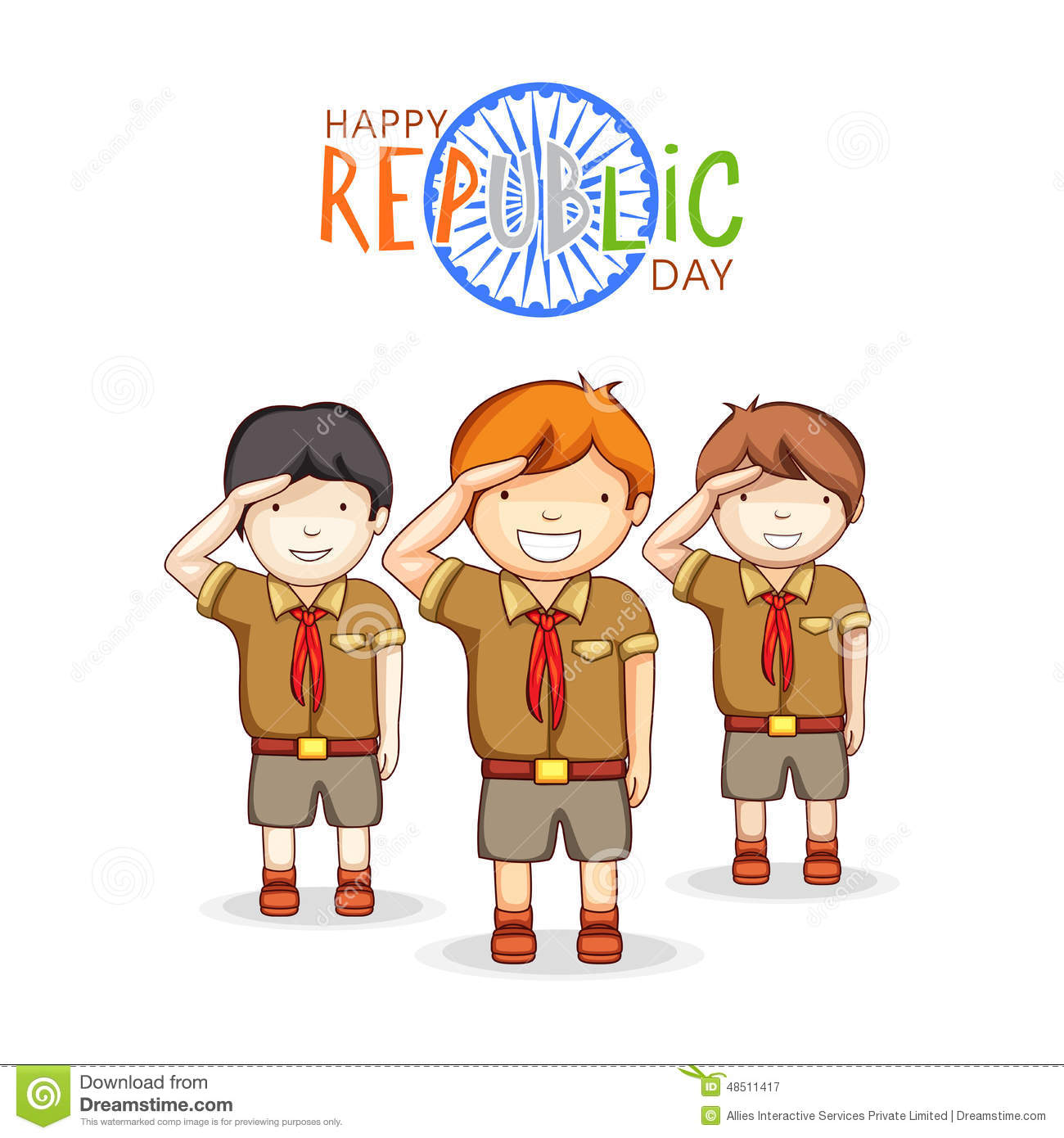 indian republic day celebration with cute kids stock illustration