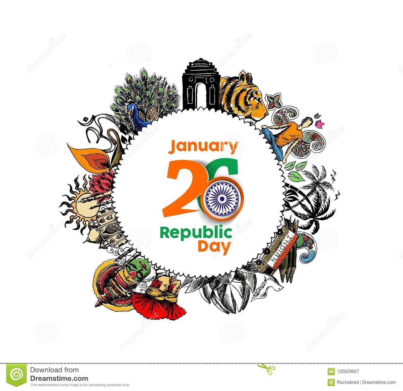 Indian Republic Day Concept With Text 26 January With Hindi Typo