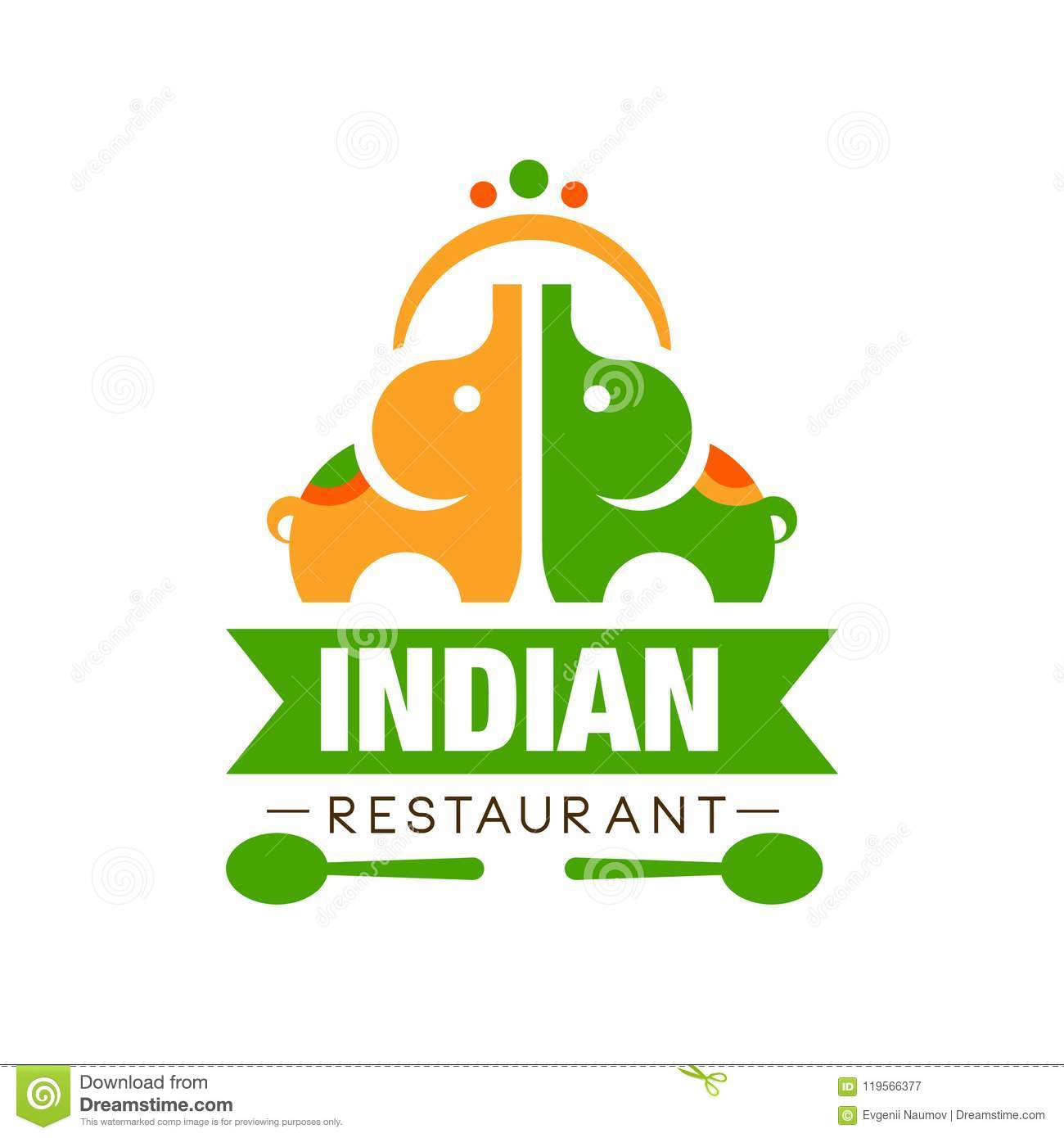Indian Restaurant Logo Design Authentic Traditional Continental Food Label Can Be Used For Cafe Bar Restaurant Menu Stock Vector Illustration Of Banner Logo 119566377