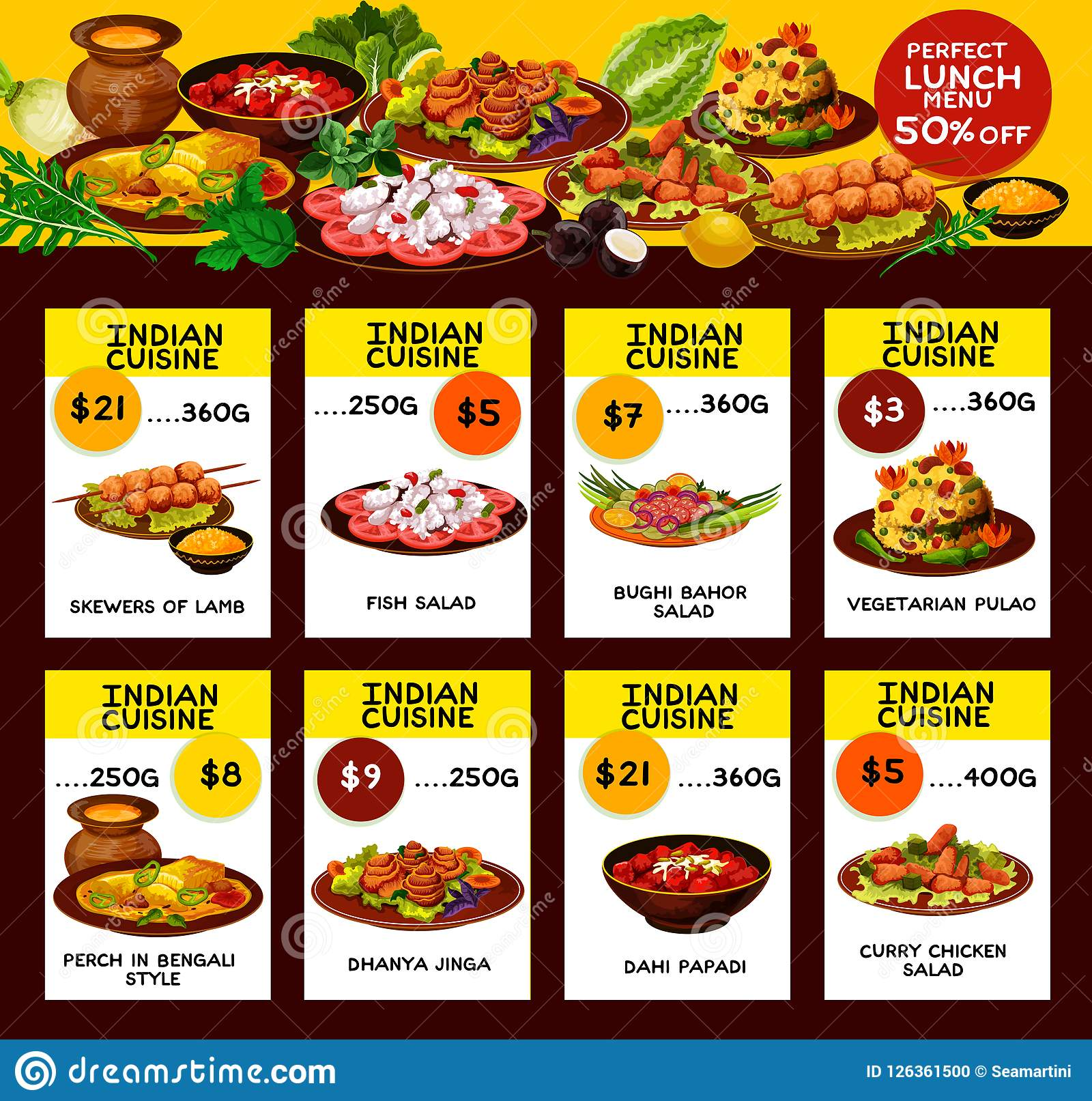 Indian Restaurant Menu Offer Cards Stock Vector Illustration Of Chili Design 126361500