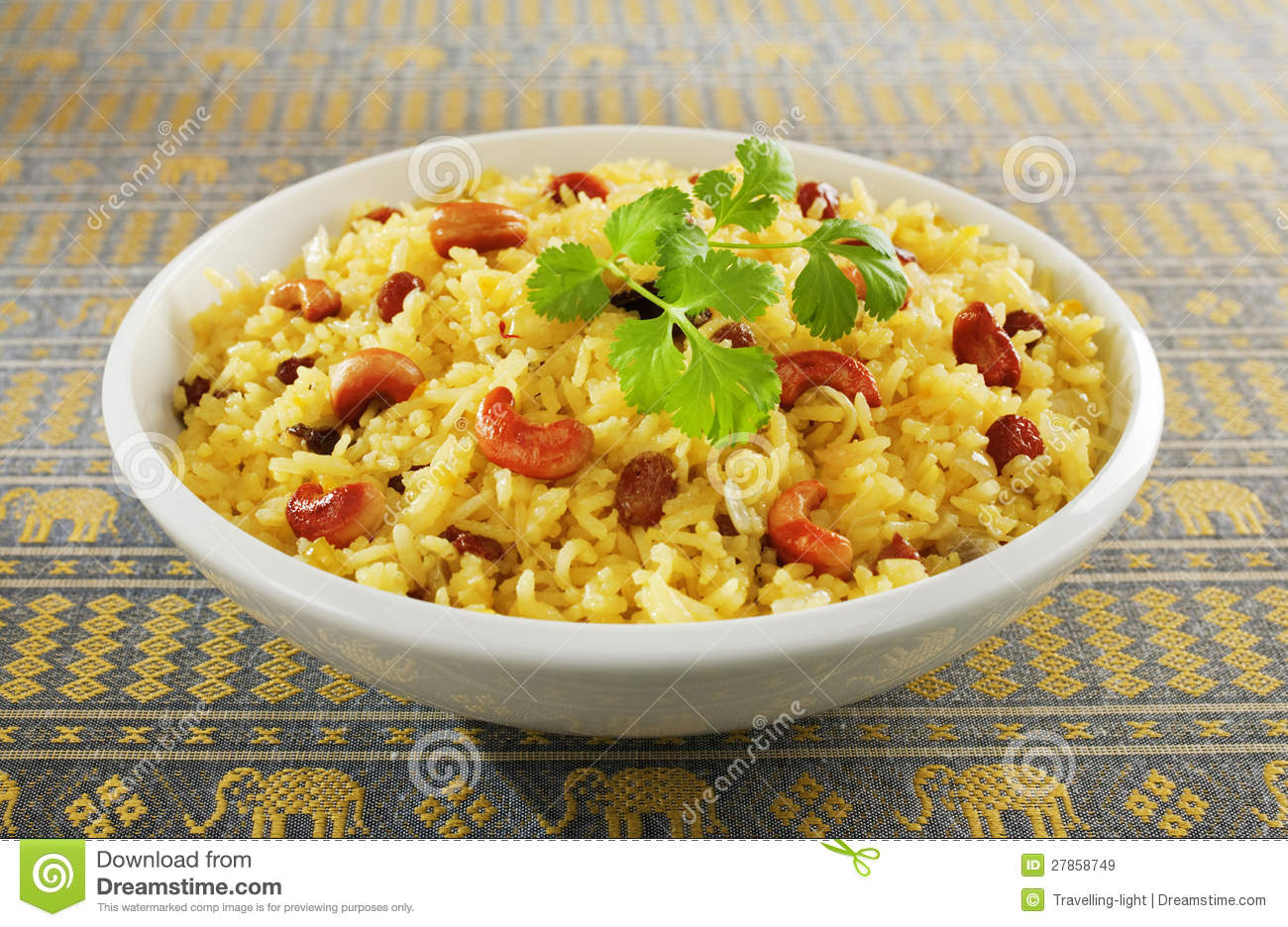 Classic fruit and nut Indian pilau, basmati rice cooked with stock ...